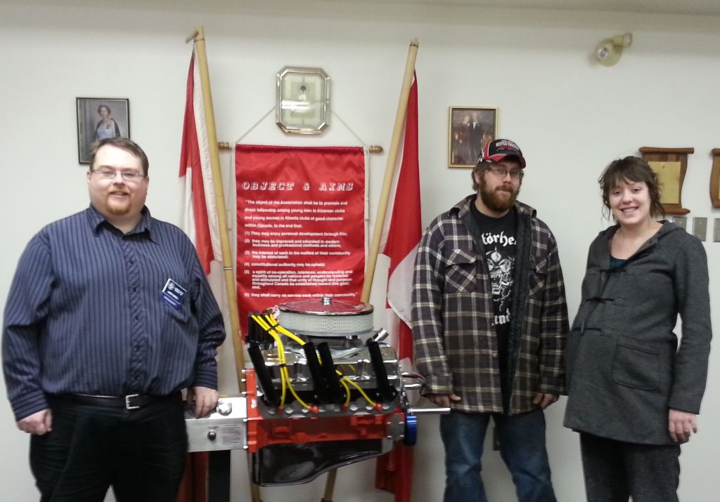 Pictured: James Sewell (l) President, Knsmen Club of Brandon, Justin Phair (c) and Britanny Phair (r)